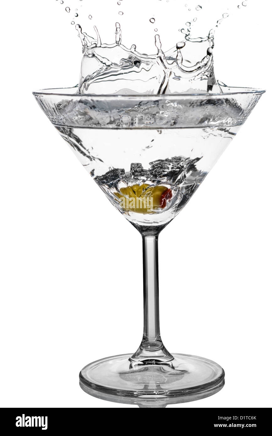 Cocktail Olive Splash On Martini Glass With White Background Stock