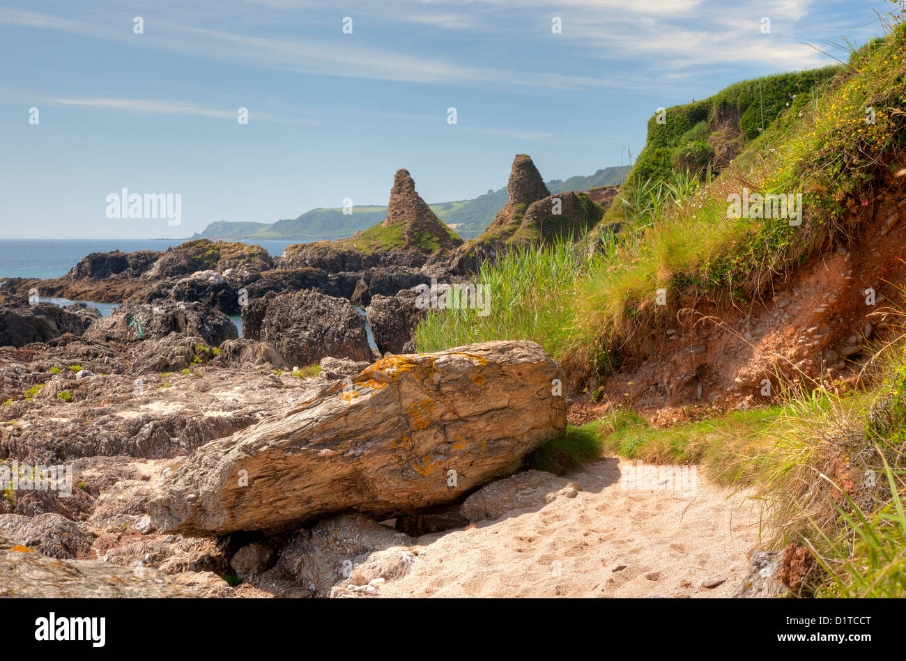 Rock formations at Great Mattiscombe Sand, Devon, England - Stock Image