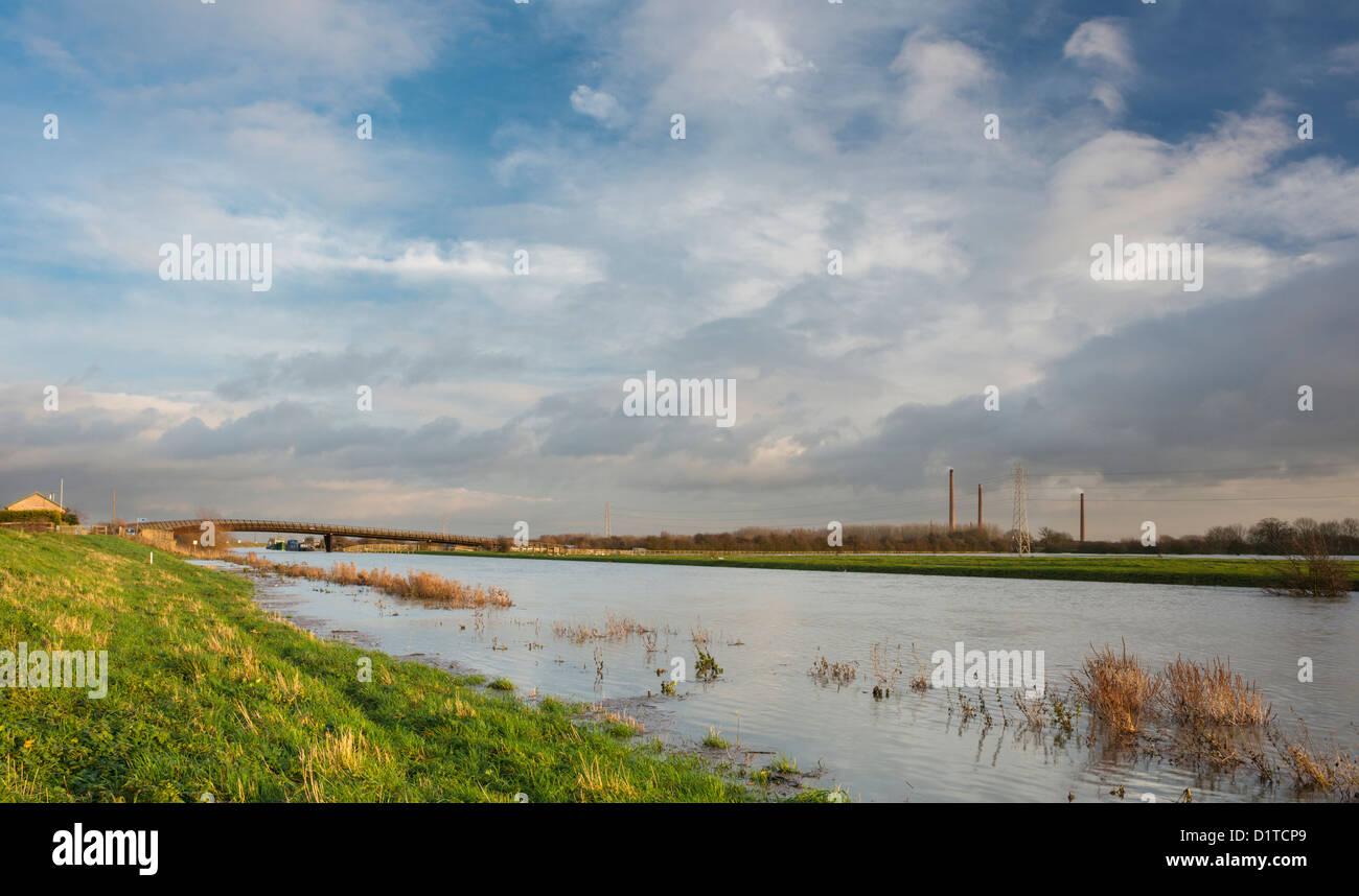 The River Nene in flood in December 2012, near Shanks Millennium Bridge, east of Peterborough, Cambridgeshire, England - Stock Image