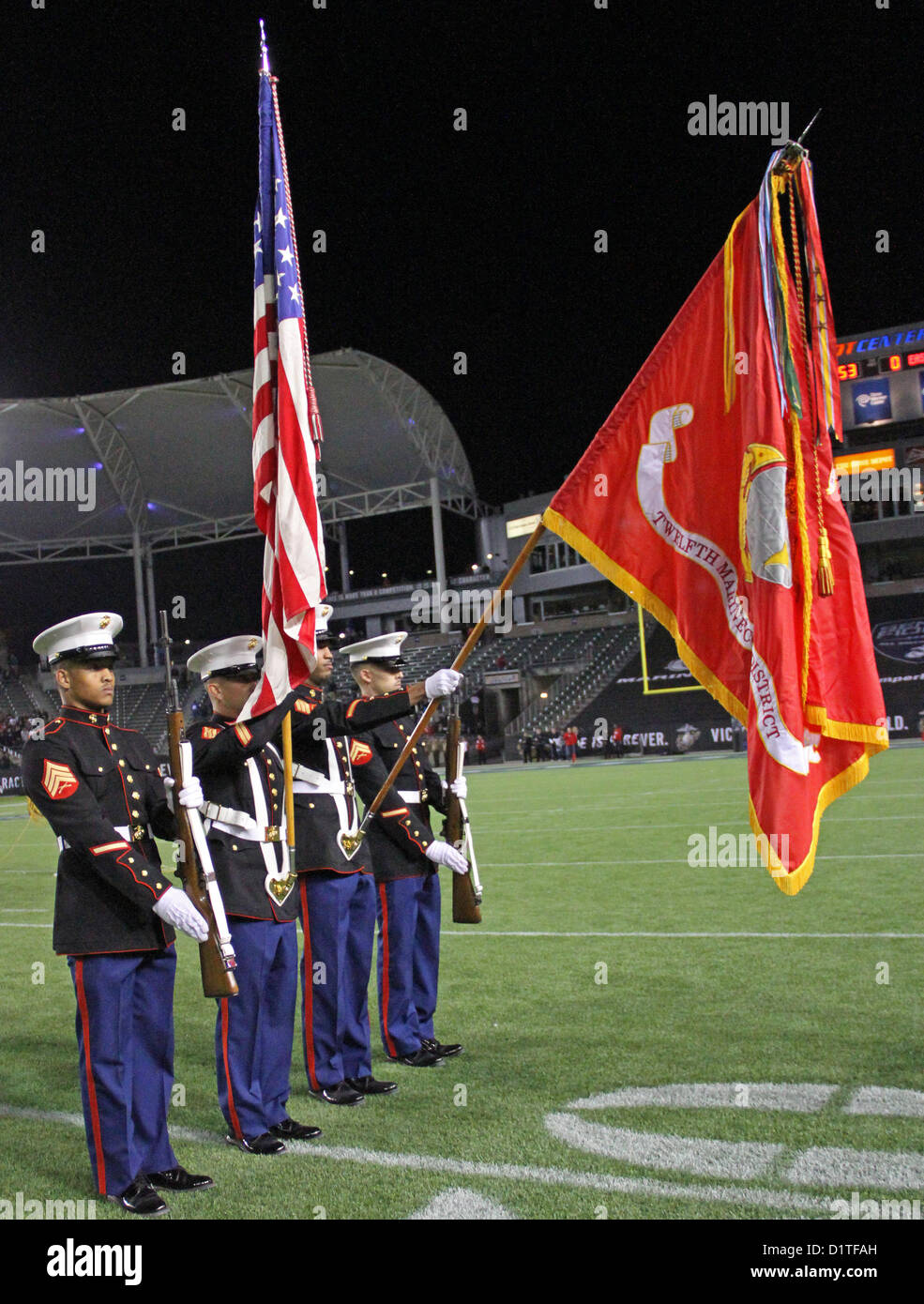 The 12th Marine Corps District's color guard presents the United