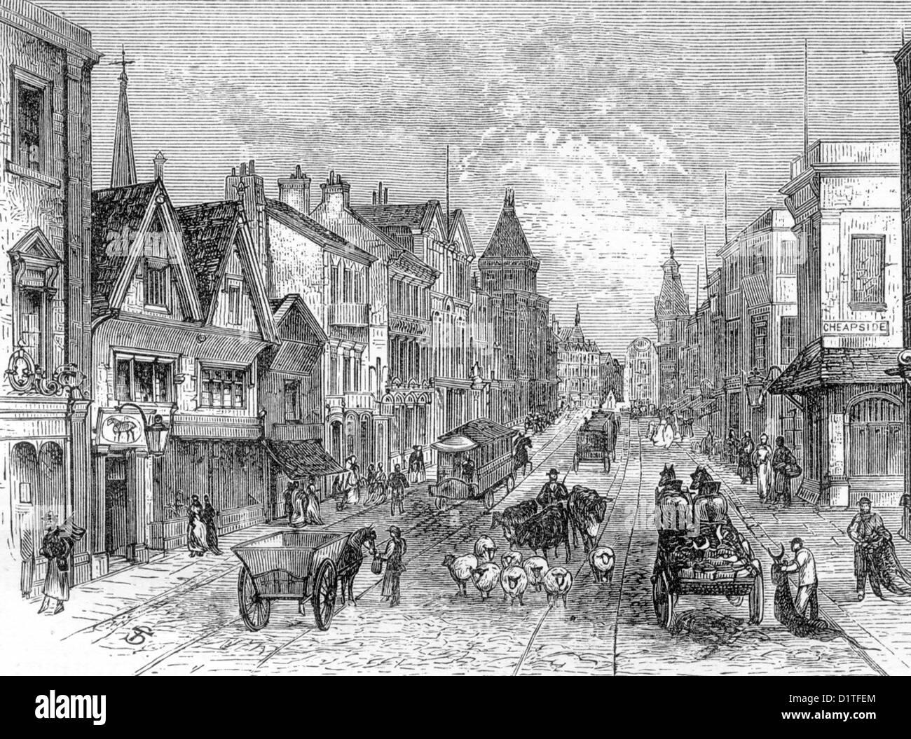 Briggate, Leeds, Yokshire; Looking North; Late 19th Century Illustration - Stock Image