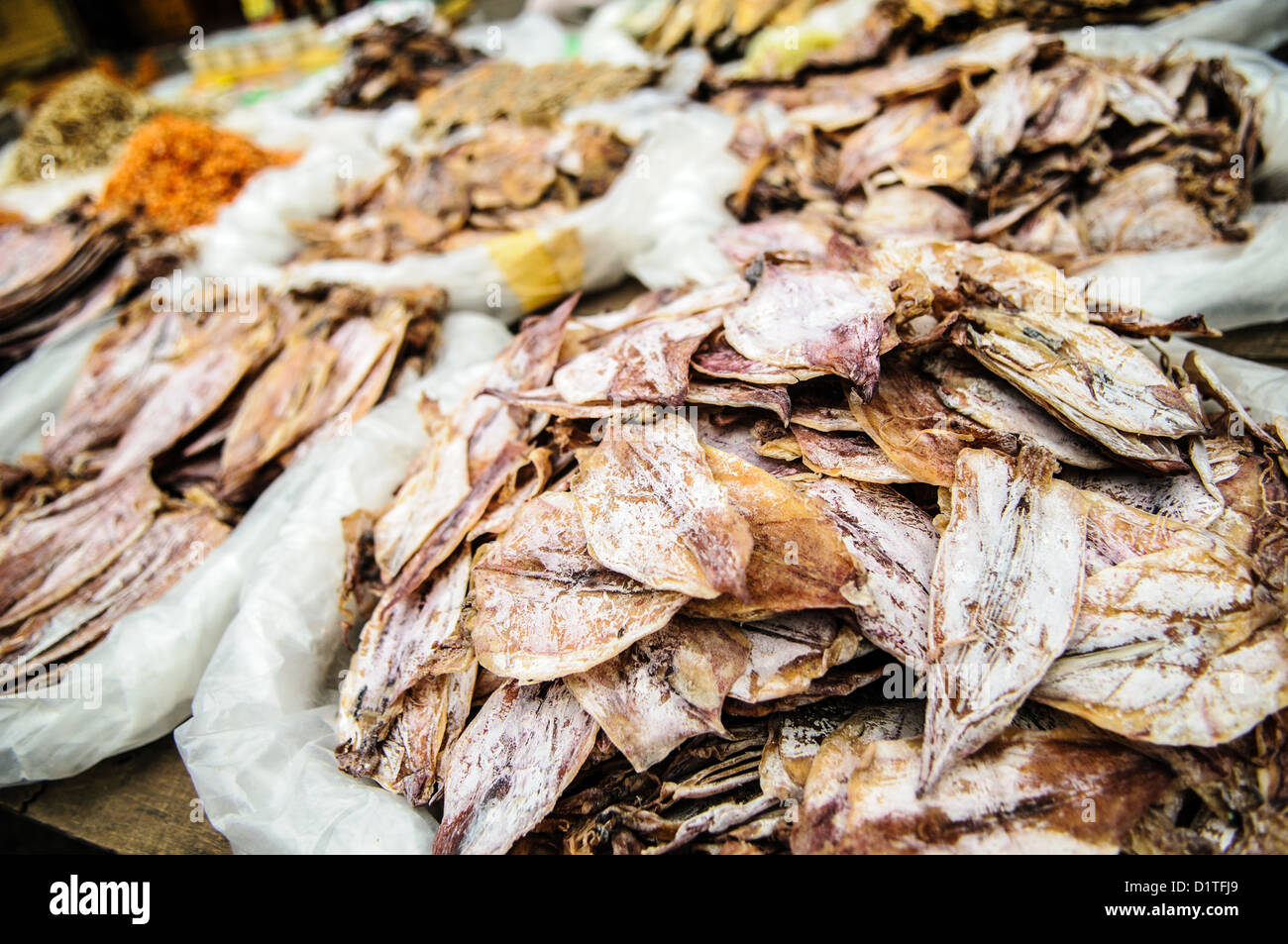 LUANG PRABANG, Laos - Dried squid at the morning market in Luang Prabang, Laos. - Stock Image
