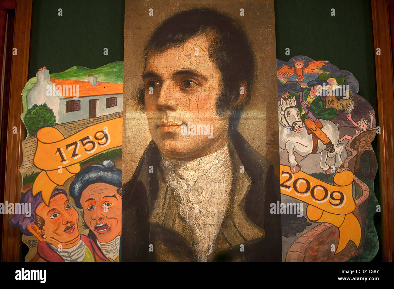 A mural depicting the 200th Anniversary of Robert Burns - Stock Image