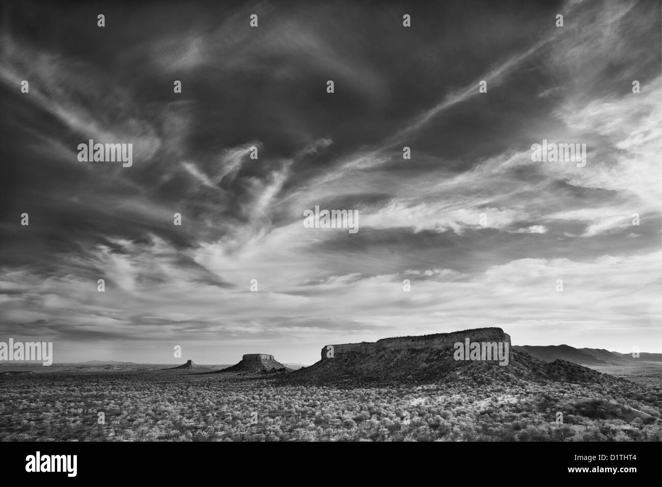 View of Ugab Terraces from Finger Rock in Damarland of Namibia - Stock Image