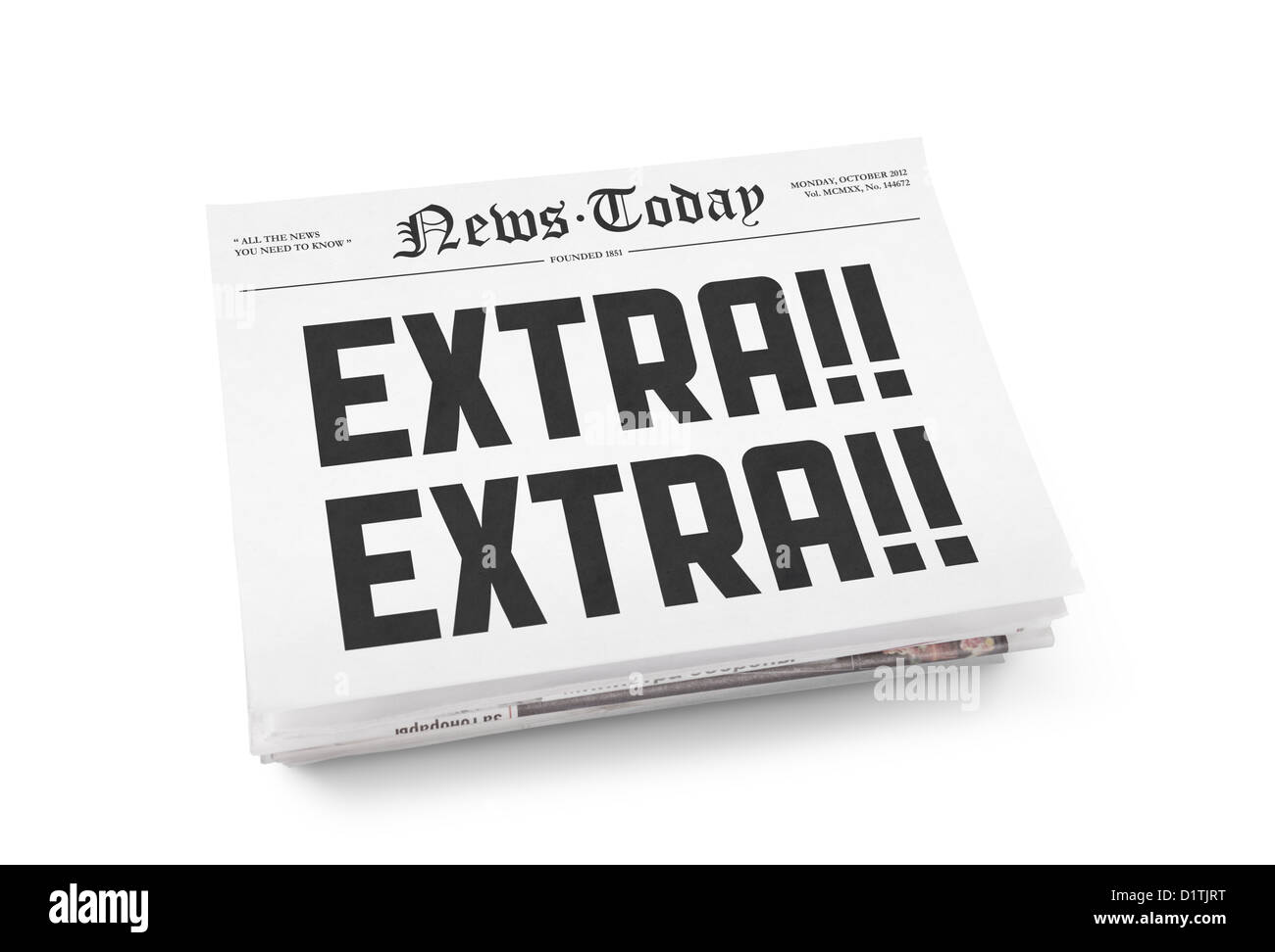 A stack of newspapers with headline 'Extra Extra'. Isolated on white. - Stock Image