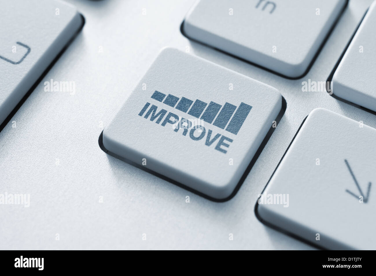 Improve button on the keyboard. Toned Image. - Stock Image
