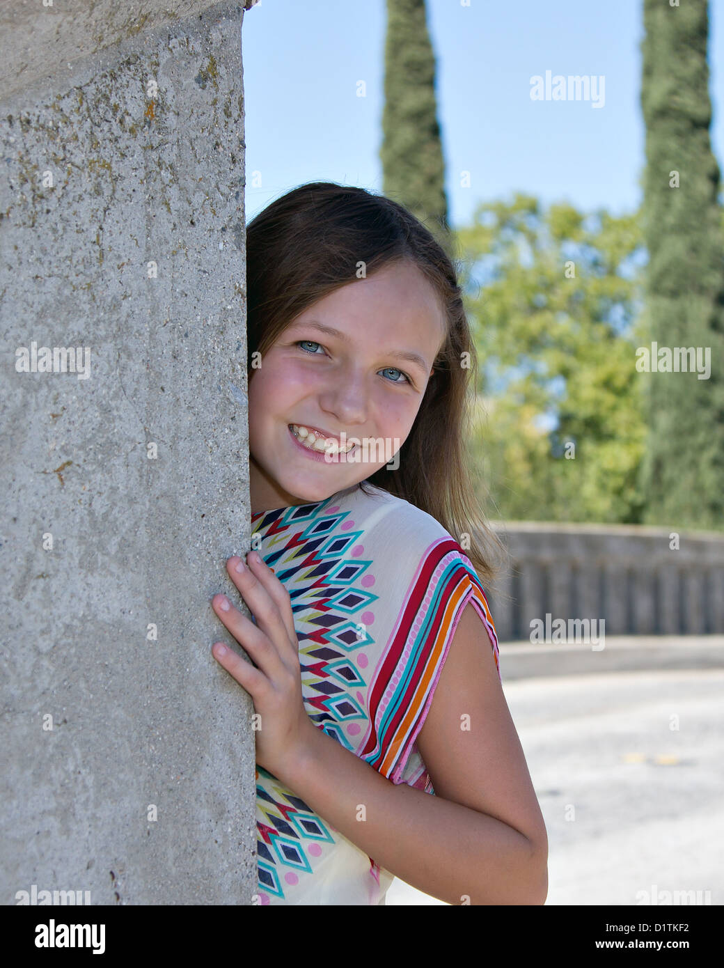 Young Pre Teen Girl Female Woman Torso Vertical Format: A Young Pre Teen Caucasian Girl Modeling 1960s Style Tie