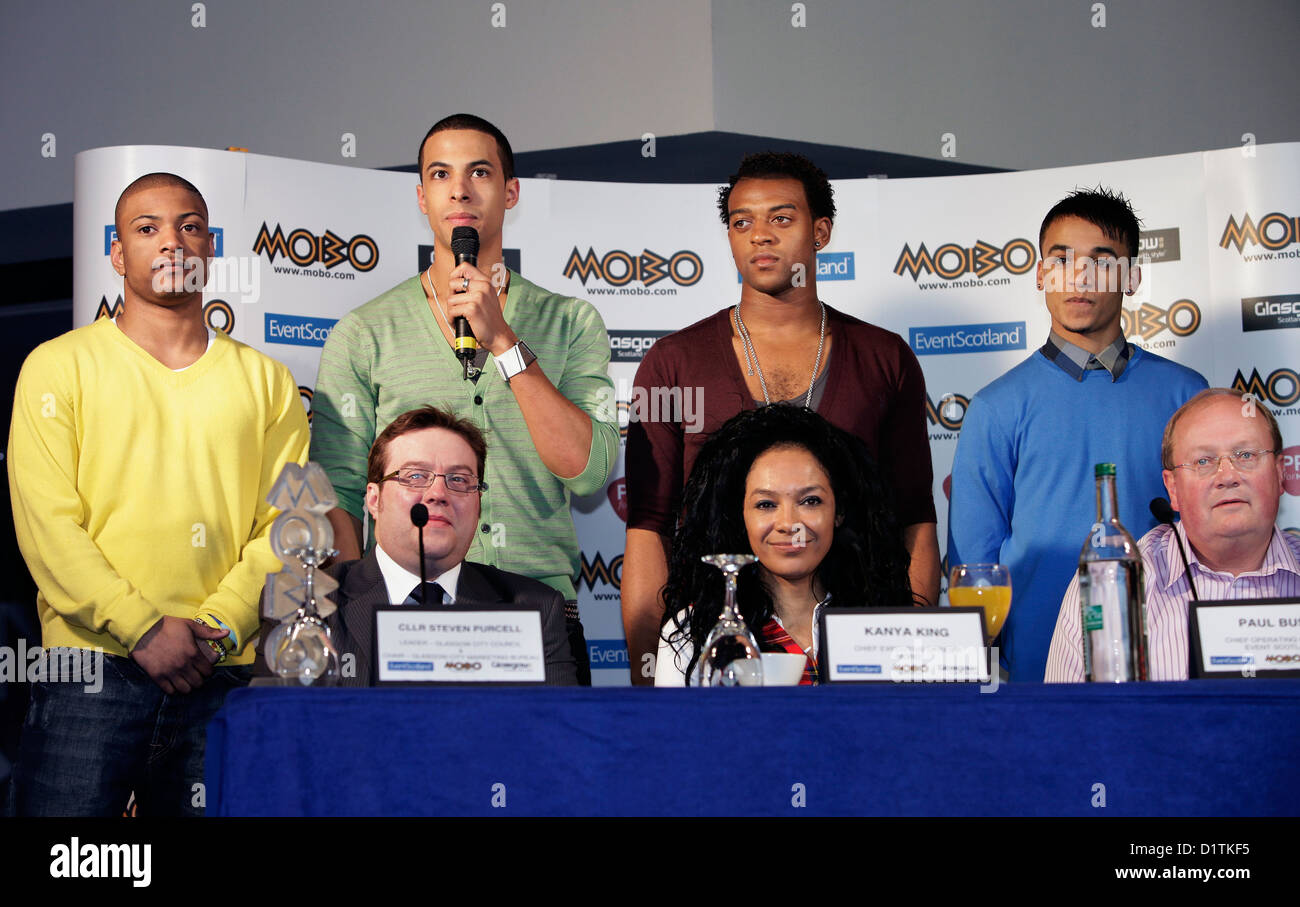 Kanya King with pop group JLS announce the MOBO awards are coming to Glasgow in 2009. Stock Photo