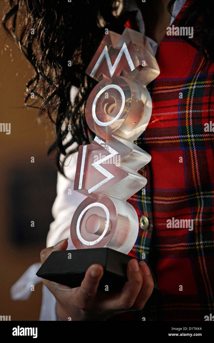 Kanya King announces MOBO awards are coming to Glasgow in 2009.  Stock Photo