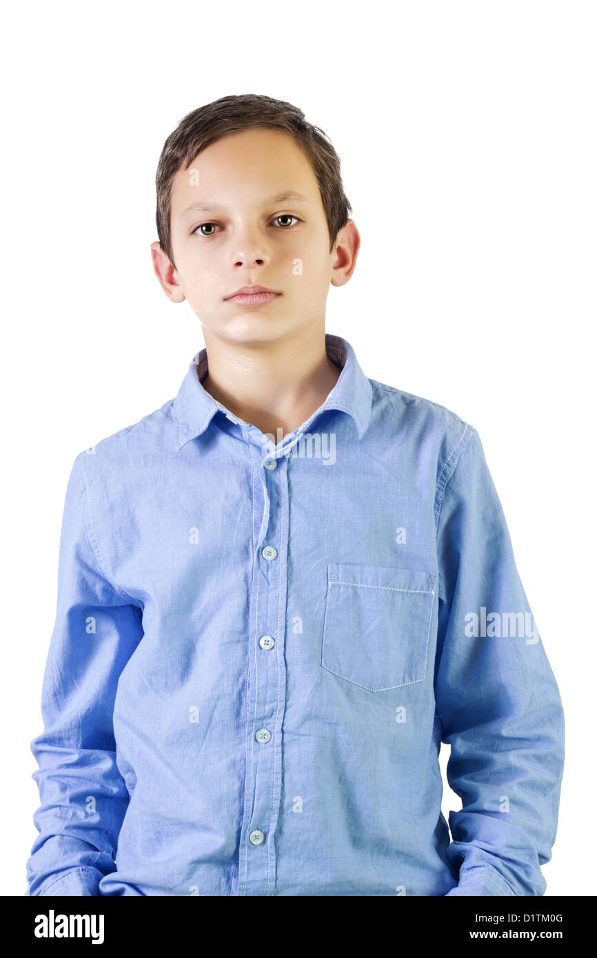 Preteen boy portrait over white background - Stock Image