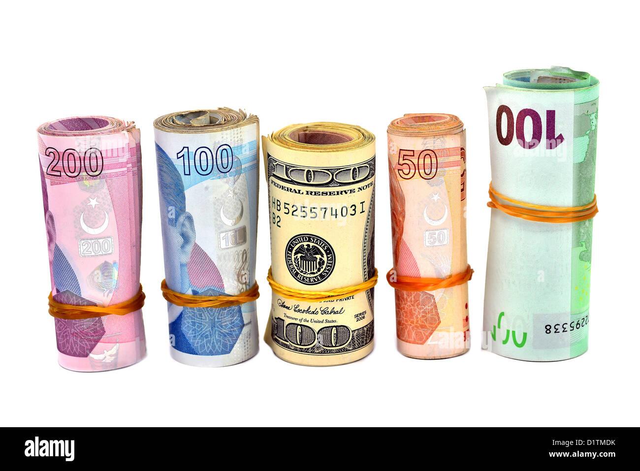 isolated Turkish Lira and dollar Stock Photo