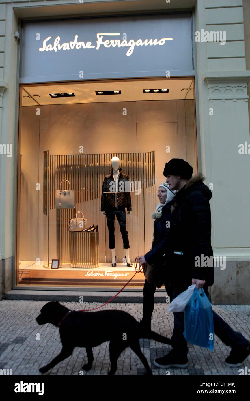Salvatore Ferragamo, fashion store in Parizska street Prague, Old Town, Czech Republic - Stock Image