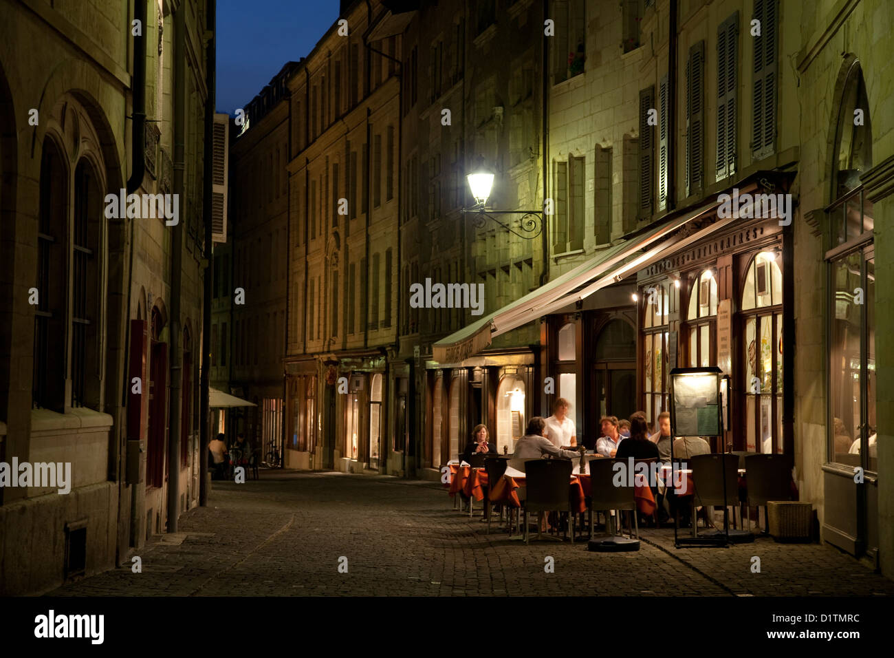 Restaurant on Grand Rue Street; Geneva; Switzerland; Europe - Stock Image
