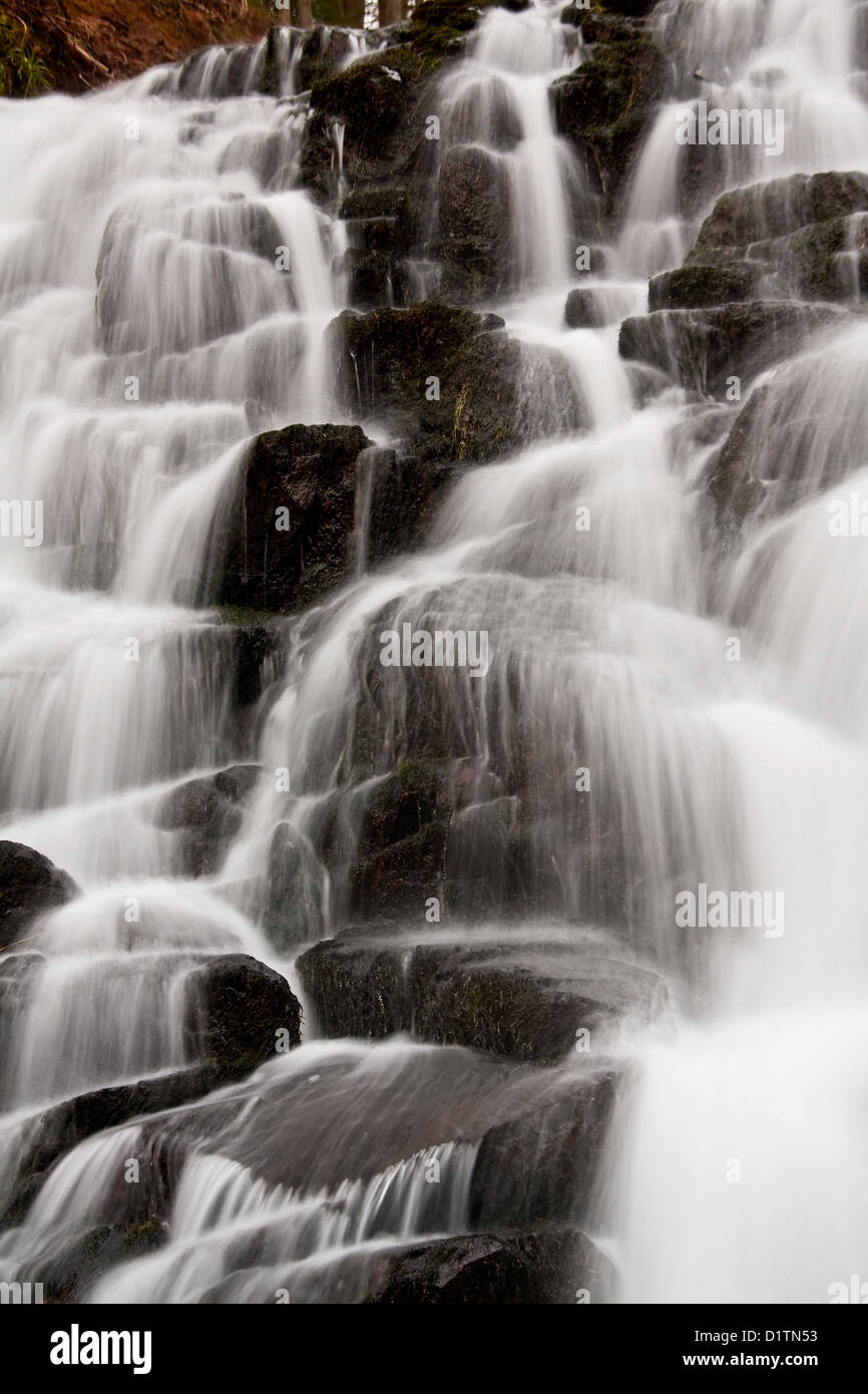 Fast flowing Waterfall near Glamis Town in Angus, UK Stock Photo