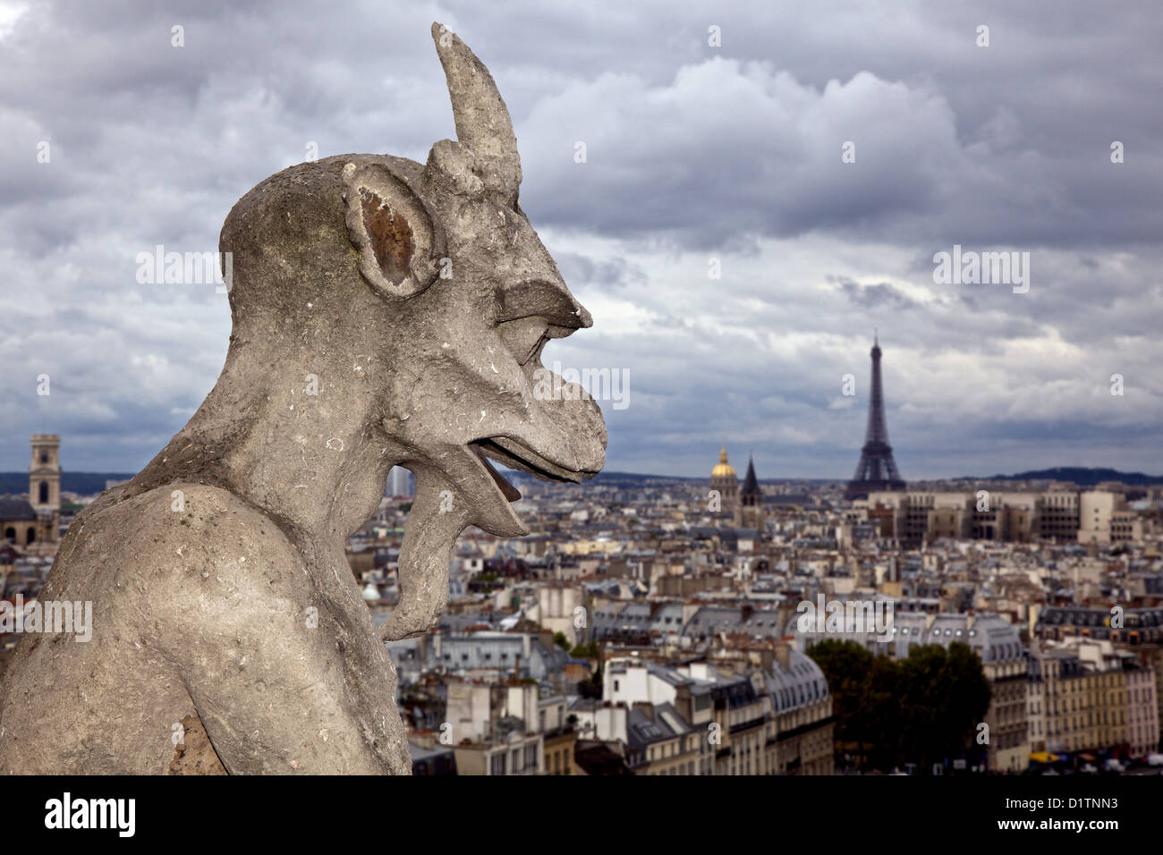 Gargoyle on the roof of the Notre Dame Cathedral in Paris, Ile de la Cite, France - Stock Image