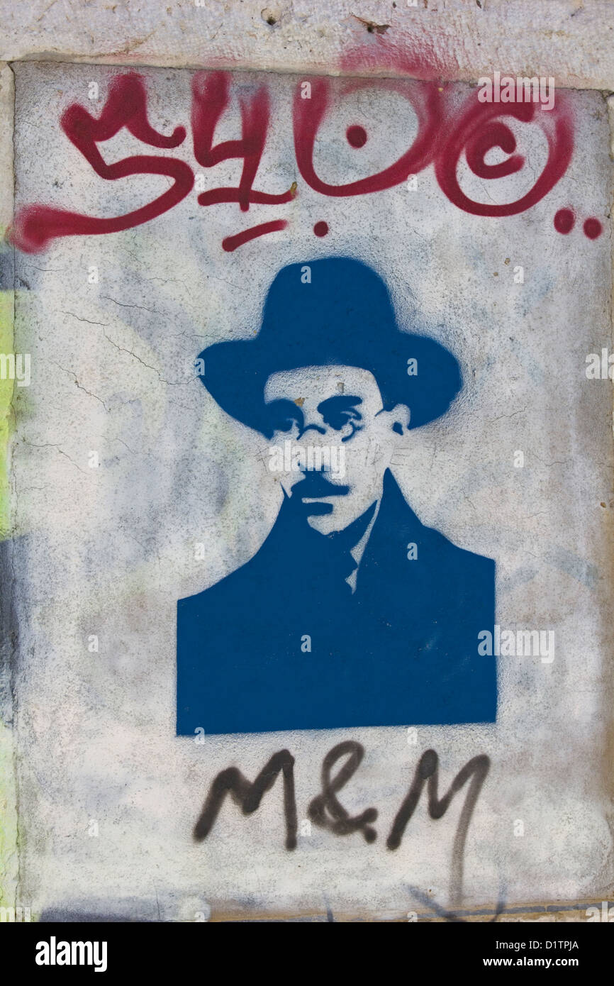 A graffito of the famous Portuguese poet and writer Fernando Passoa 13/6/1888 - 30/11/1935. - Stock Image