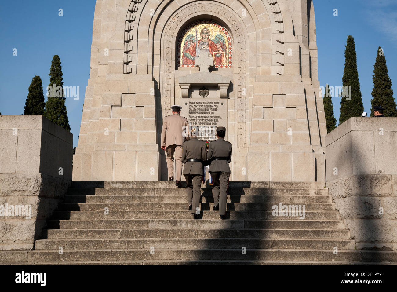 Serbian military officers rehearsing before an honor event, Zeitenlik Allied Military Cemetery in Thessaloniki, - Stock Image