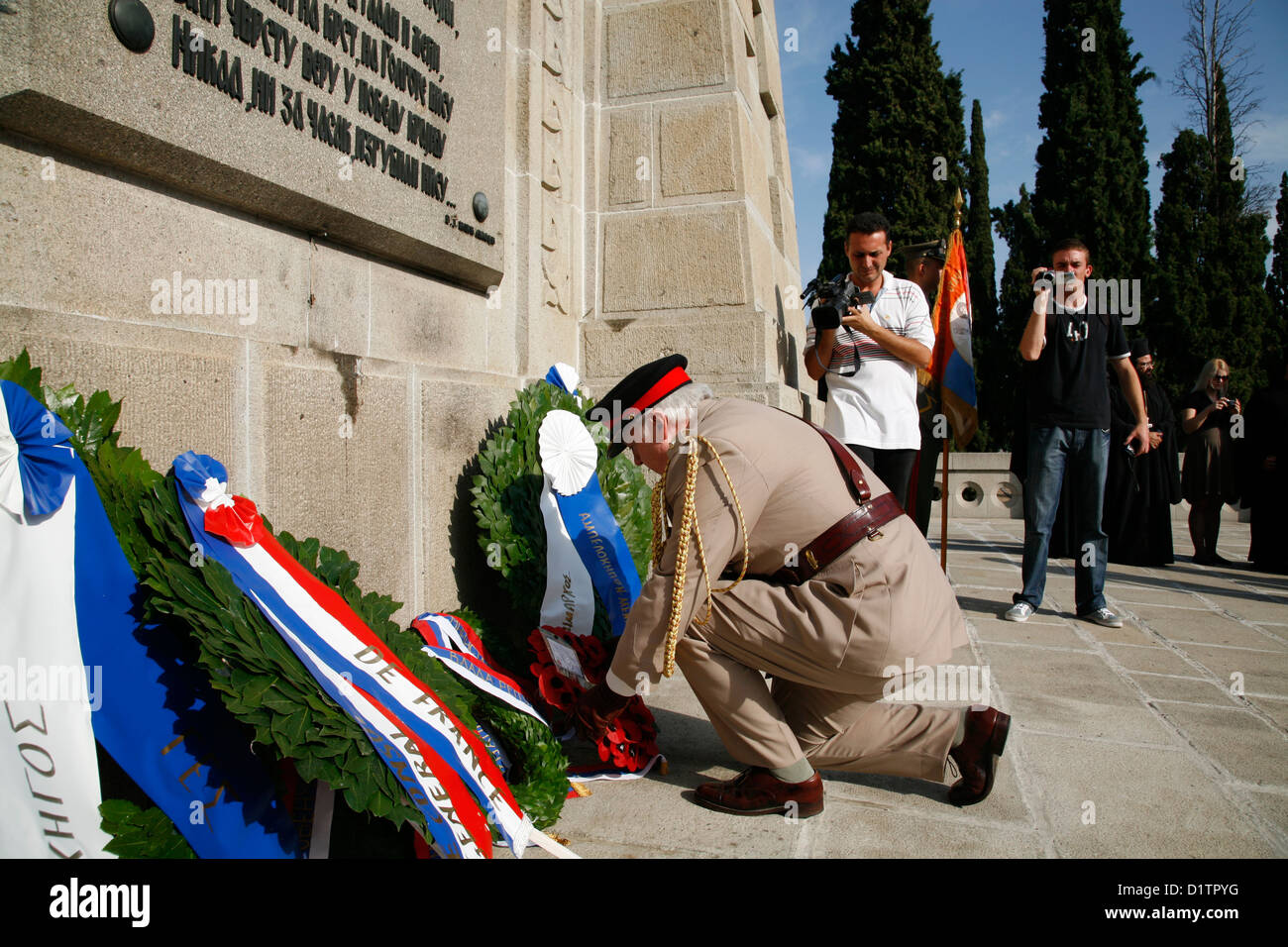 British military attaché, lays a wreath at at Serbian Chapel, Zeitenlik Allied Military Cemeteries in Thessaloniki, - Stock Image