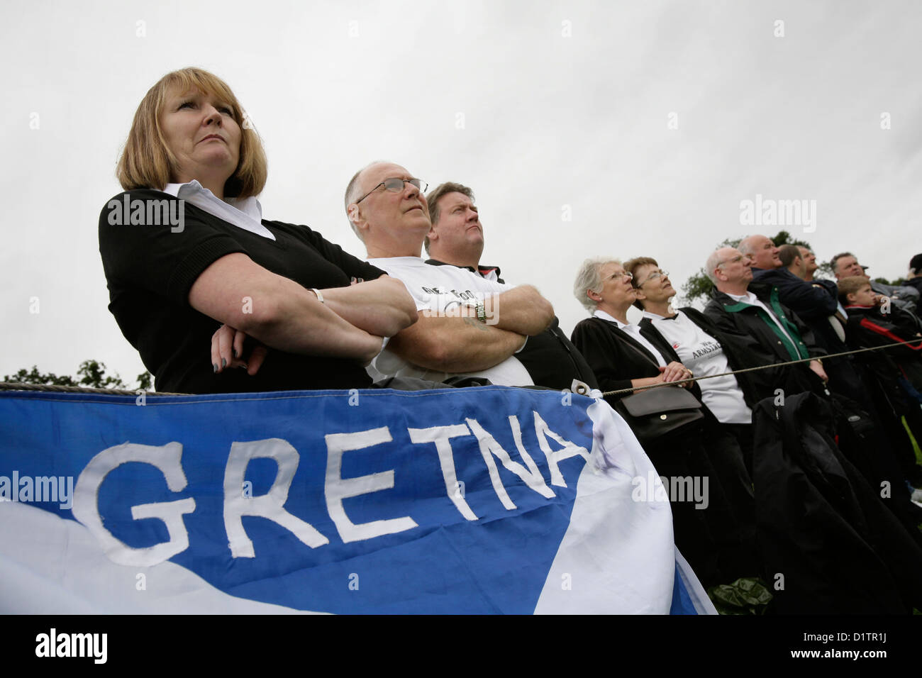 Gretna football fans watch their team play Kelso - Stock Image