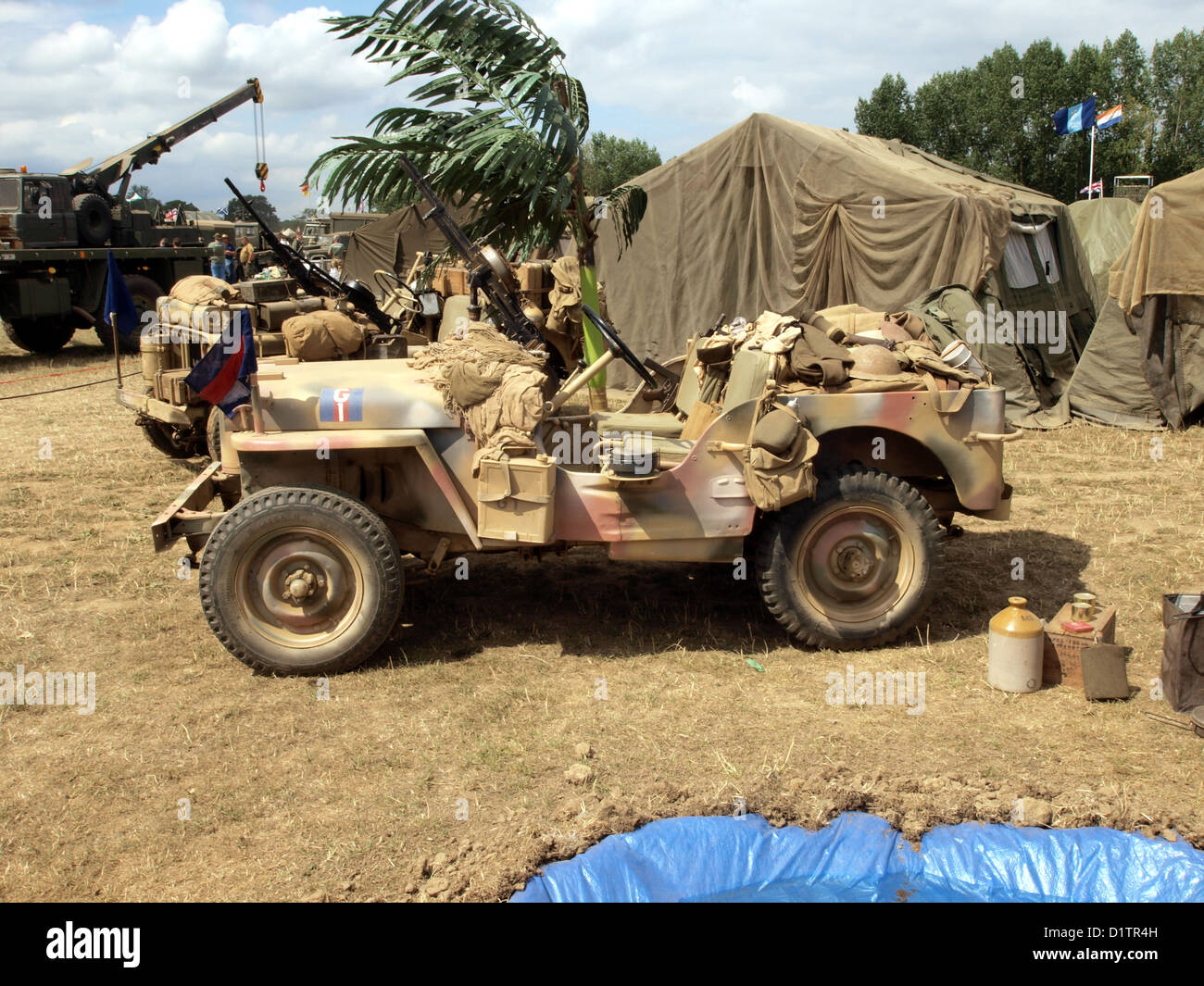 War and Peace Show....Willys MB or Ford GPW in desert camo - Stock Image