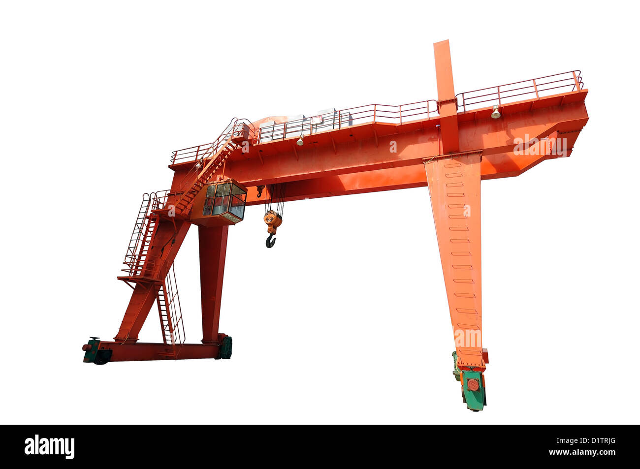 Tower crane in the factory workshop. - Stock Image