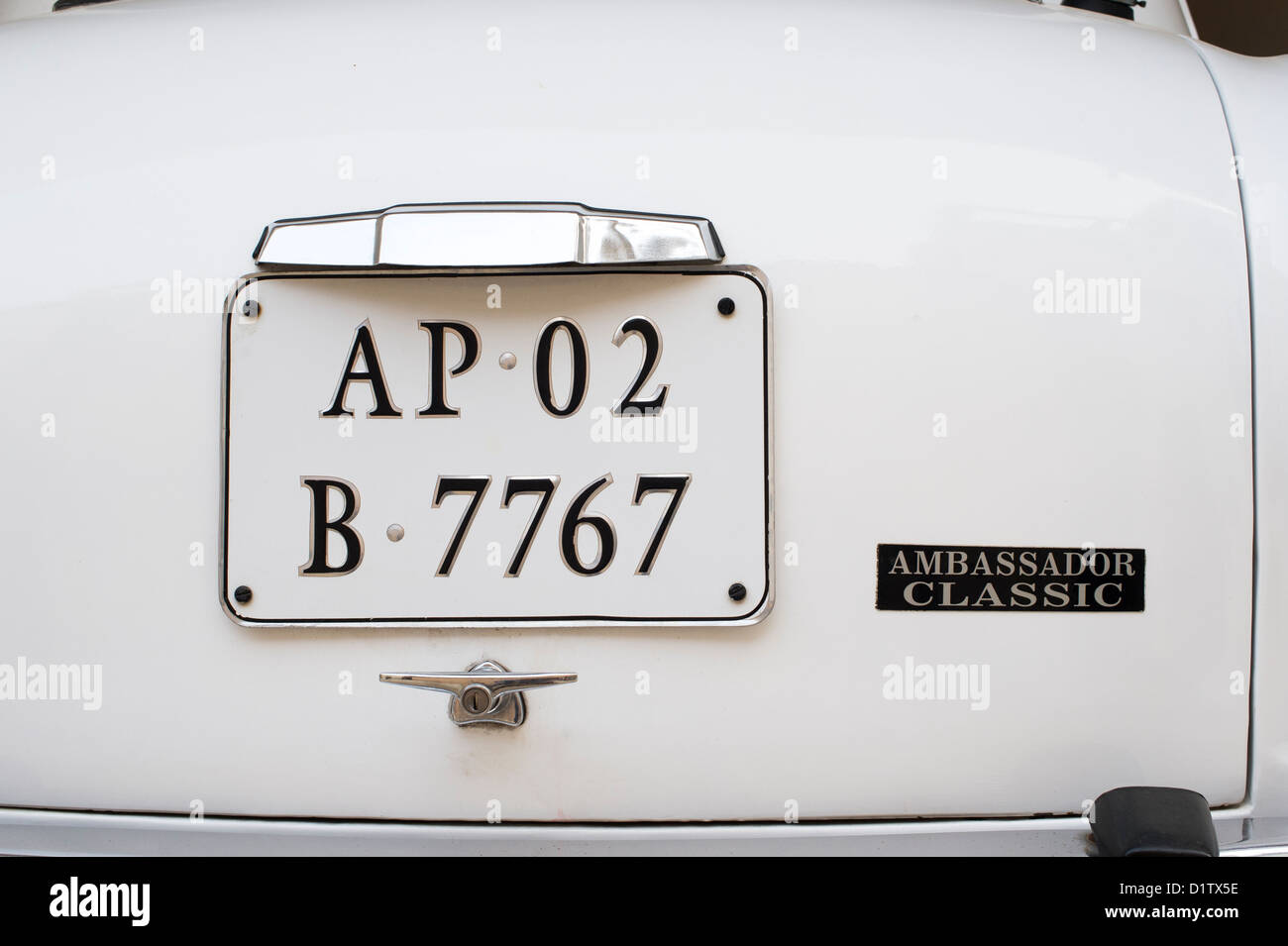 Hindustan Ambassador Classic indian car. Rear End - Stock Image