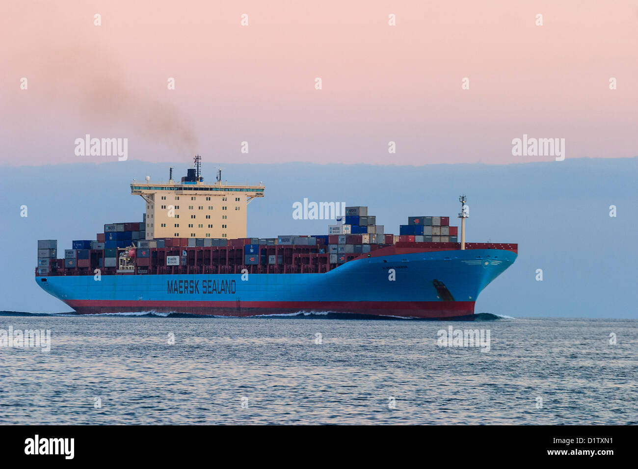 Maersk Sealand container ship at sea - Stock Image