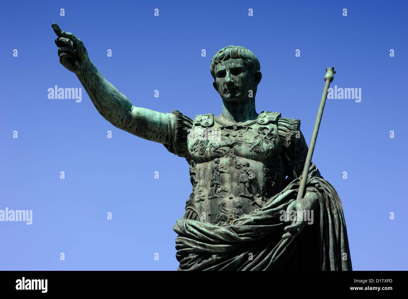 italy, rome, statue of roman emperor julius caesar augustus - Stock Image