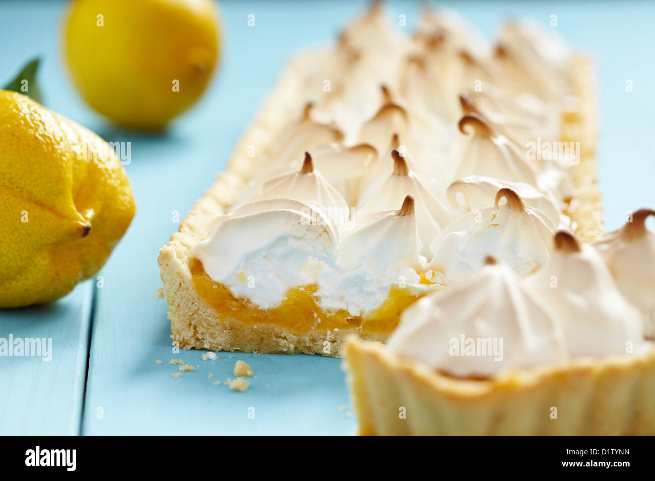 Close up of lemon meringue pie - Stock Image
