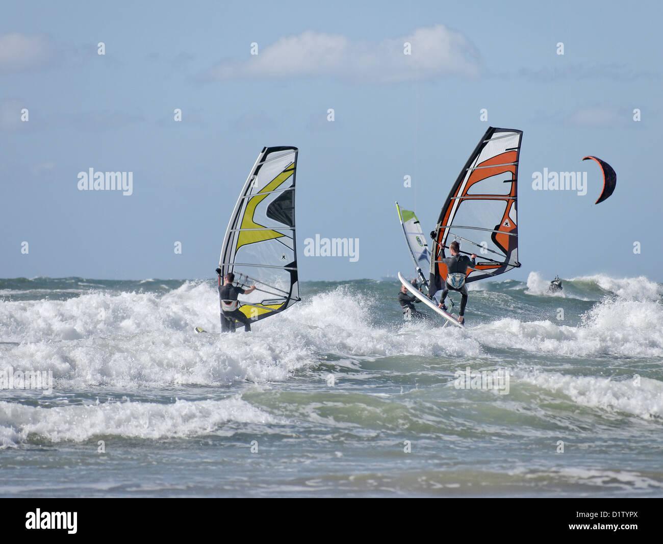 Wind Surfing in Scheveningen - Stock Image