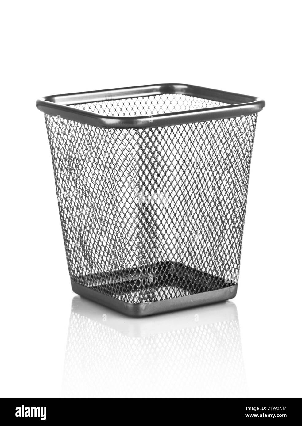 empty metal trashcan on a white - Stock Image