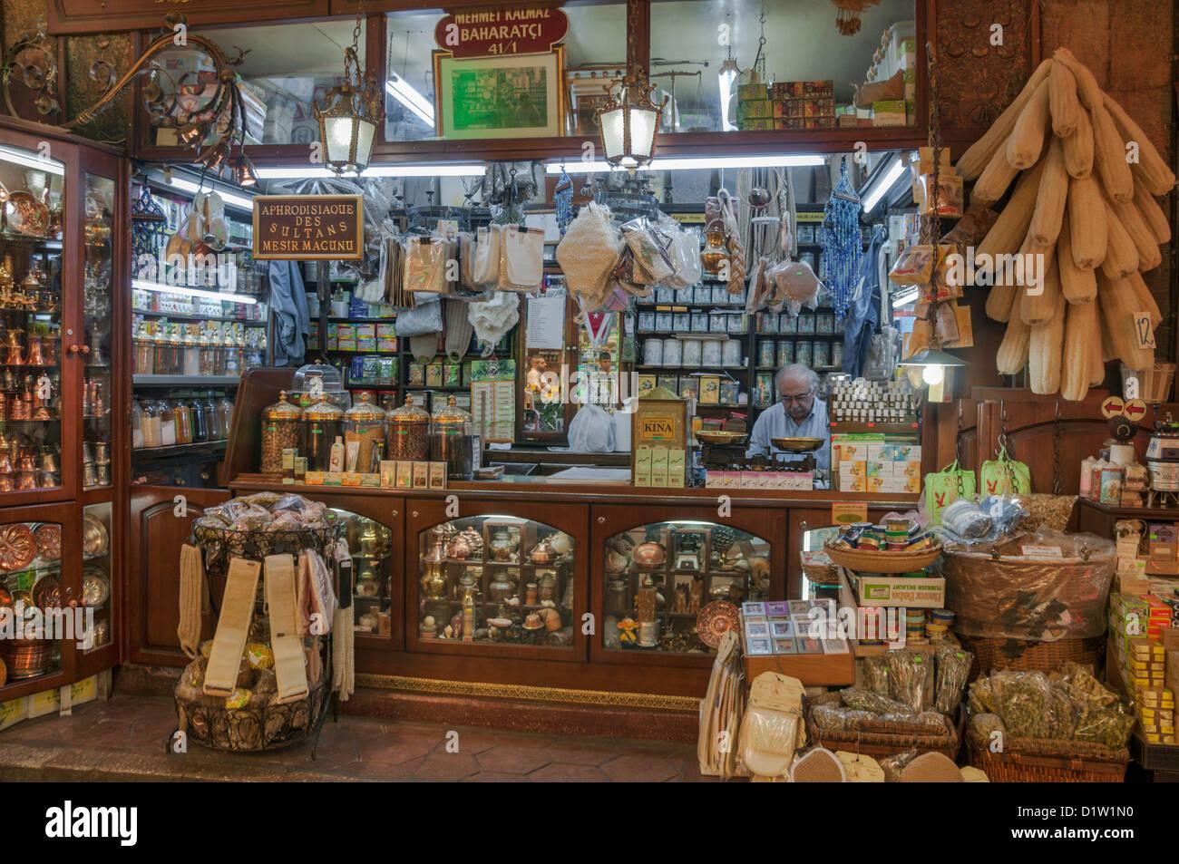Herbalist shop in spice bazaar(Egyptian Bazaar) of Eminonu,istanbul,Turkey - Stock Image