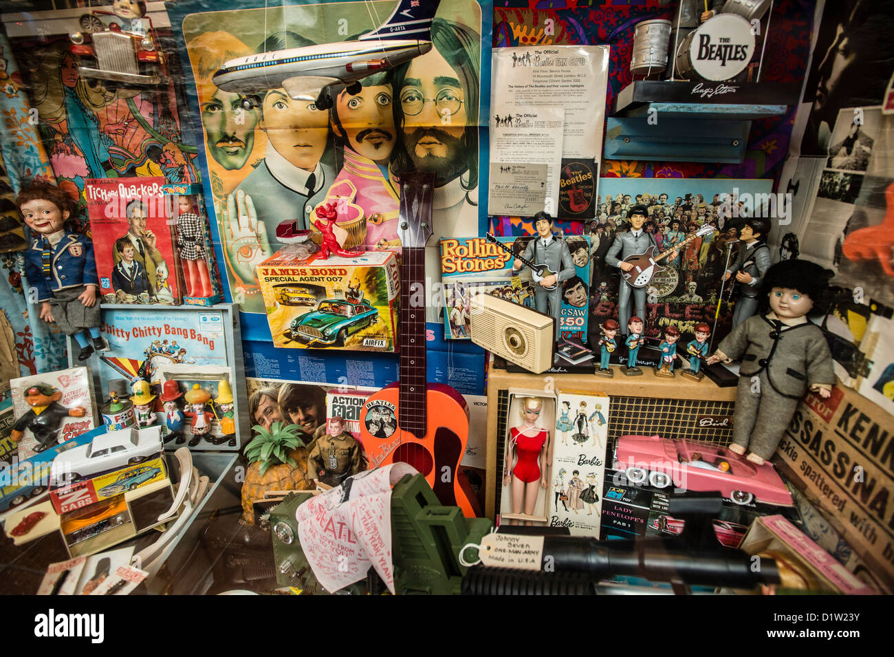 cda4b4f3cf A collection of toys and other memorabilia - including items showing the  Beatles, Thunderbirds and other iconic figures - from the 1960's at the  West Wales ...