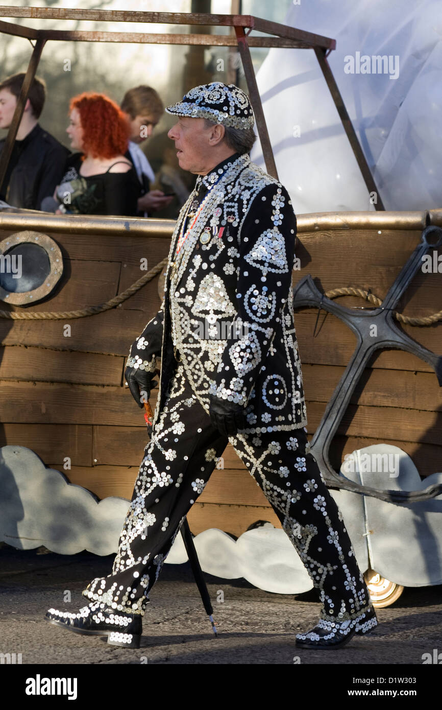 Pearly Kings and Queens known as pearlies at the New years Day Parade London 2013 - Stock Image