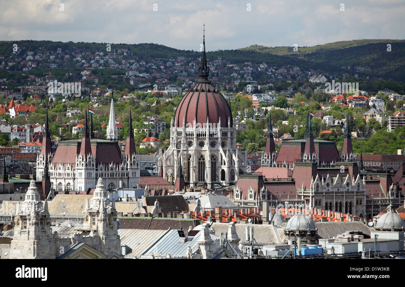 Budapest, Hungary, townscape with the parliament building - Stock Image