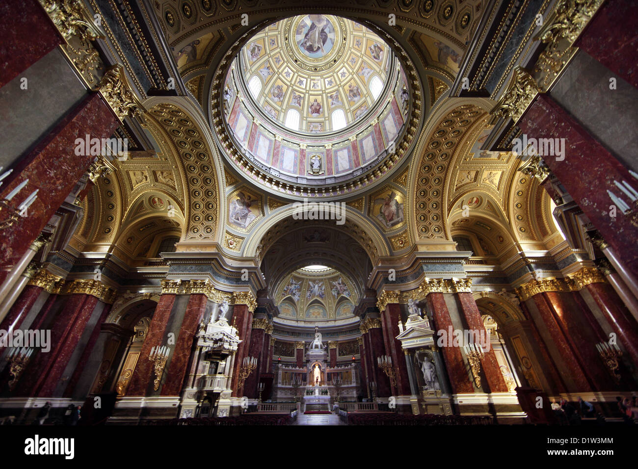 Budapest, Hungary, Interior of St. Stephen's Basilica - Stock Image