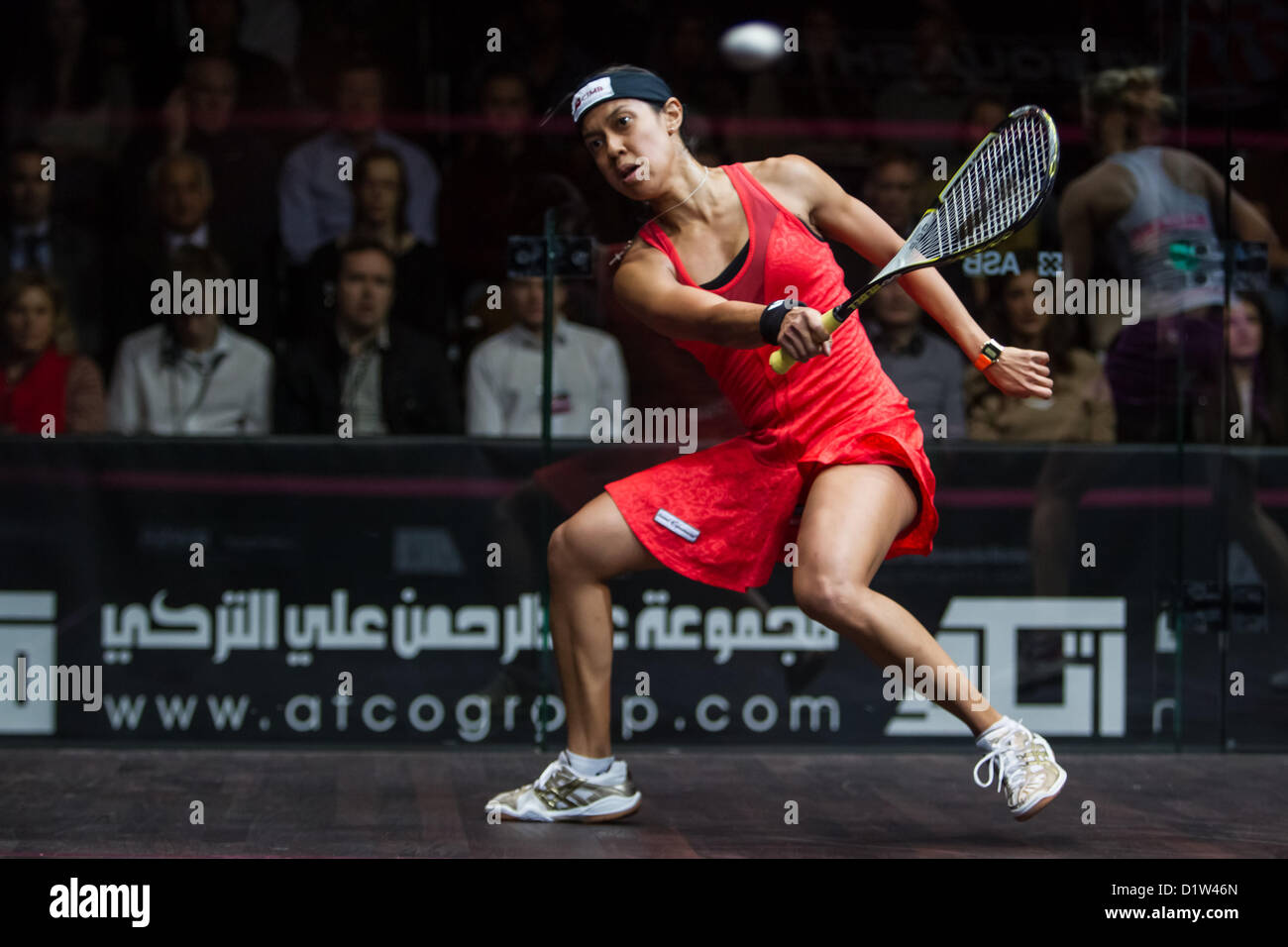 06.01.2013 London, England. World number 1 and reigning World Series champion Nicol David (Malaysia) in action during - Stock Image