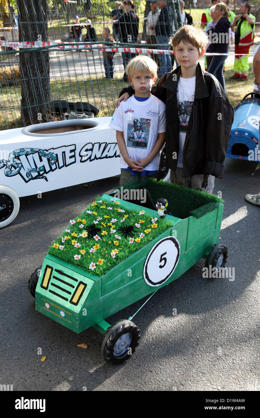 New Hagen, Germany, in front of her boy-made soapbox - Stock Image
