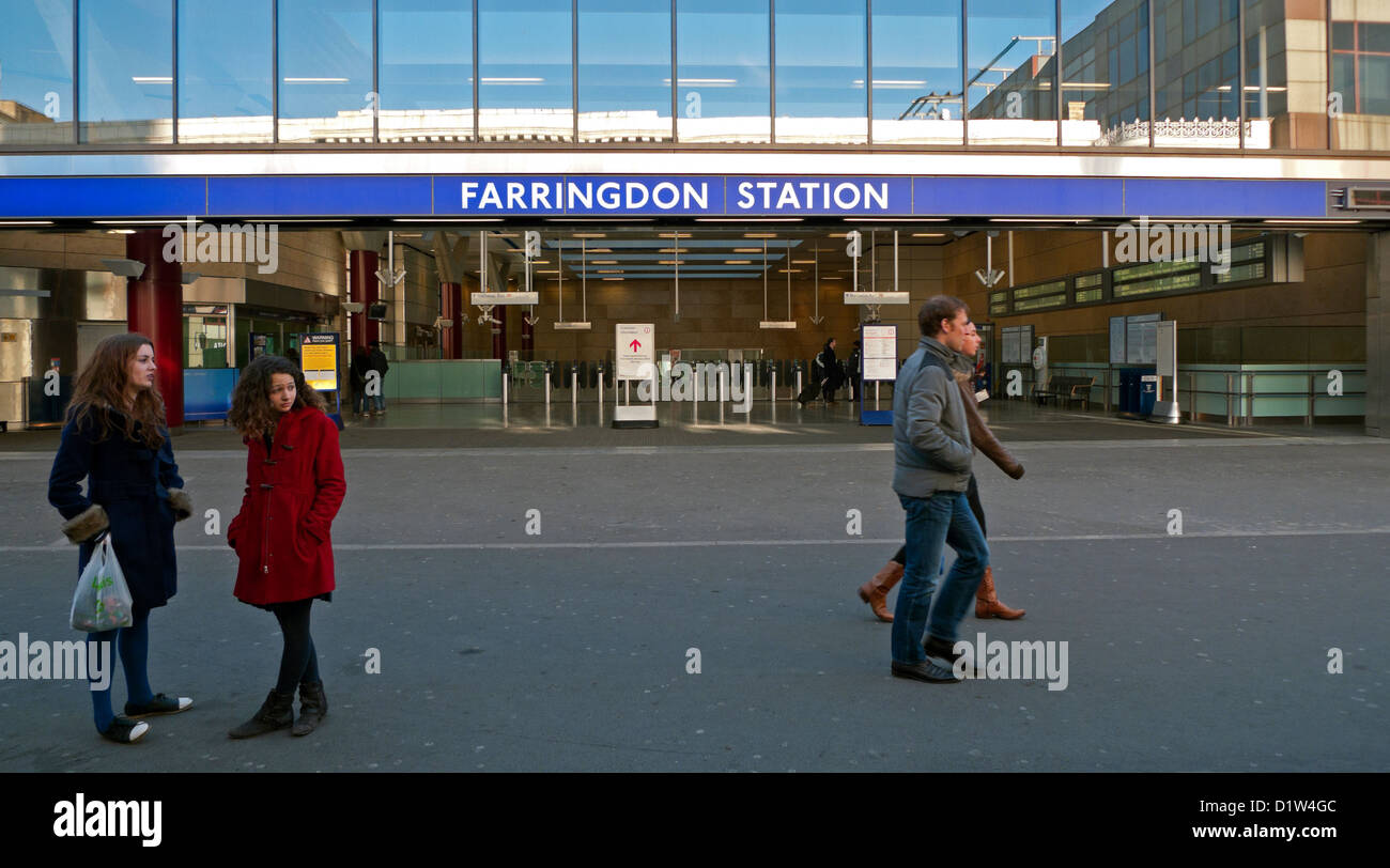 People in the street outside the new Farringdon Station tube station Clerkenwell London England UK   KATHY DEWITT - Stock Image