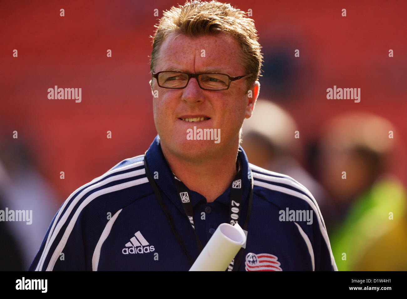 New England Revolution head coach Steve Nicol leaves the field after team warmups before the MLS CUP championship - Stock Image