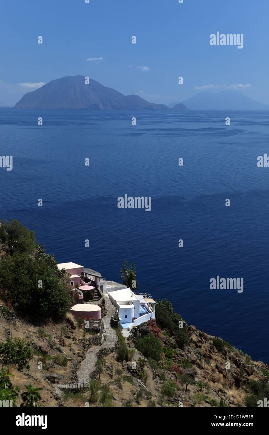 Alicudi, Italy, overlooking the islands of Filicudi (left) and Salina Stock Photo