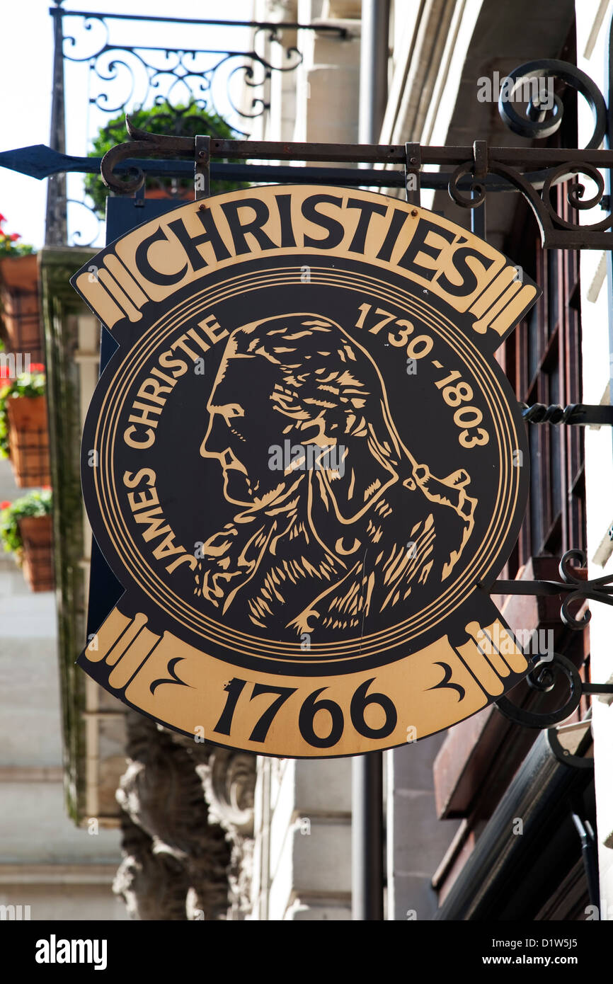 Christies Auction House Sign, Geneva; Switzerland; Europe - Stock Image