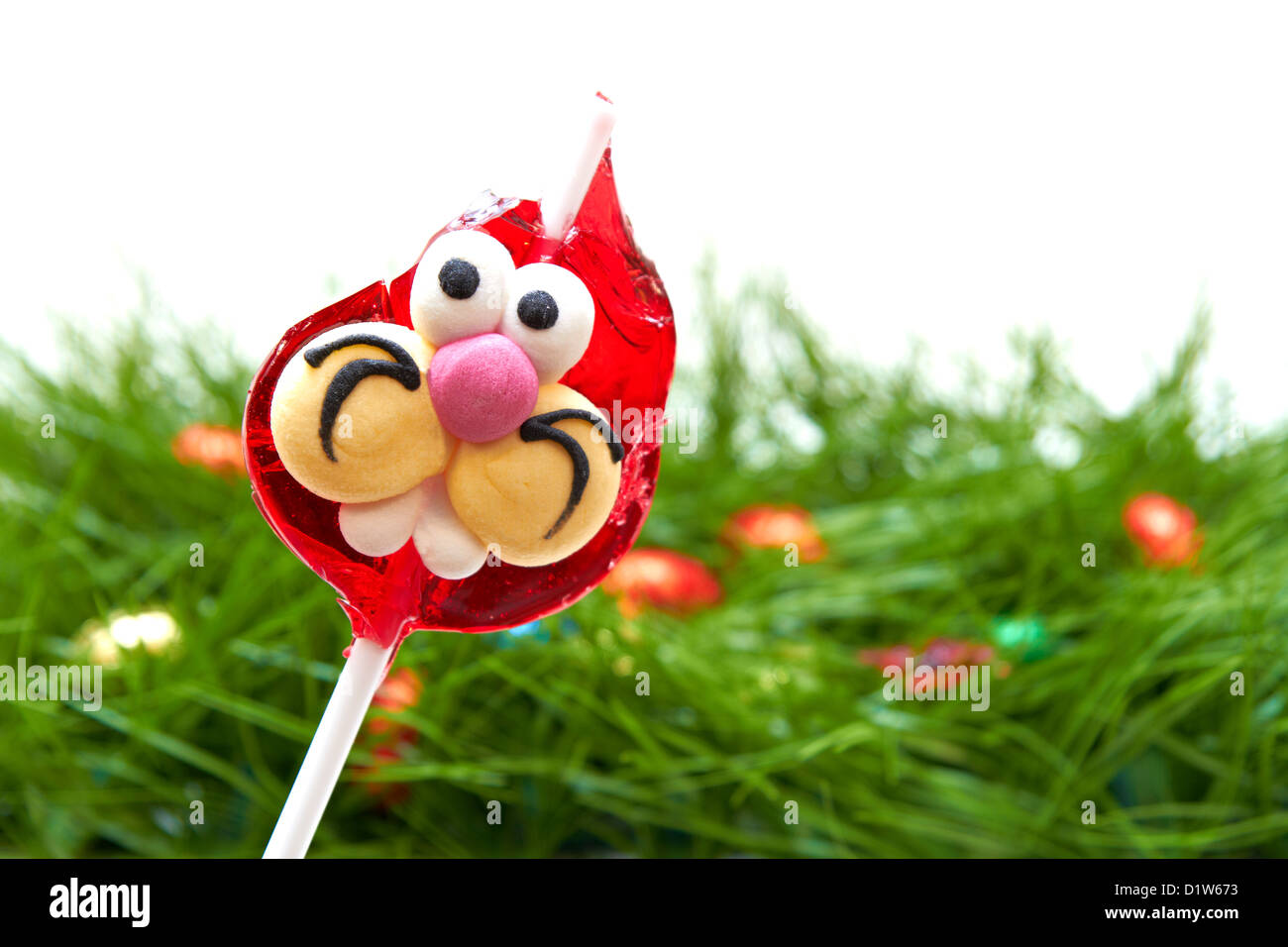 Easter Lollipop Bunny with broken ear - Stock Image
