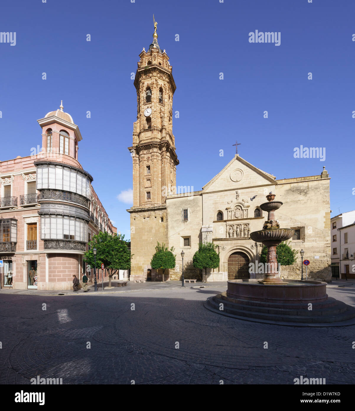 Spain, Andalucia - Antequera. View with church tower of San Sebastian. - Stock Image