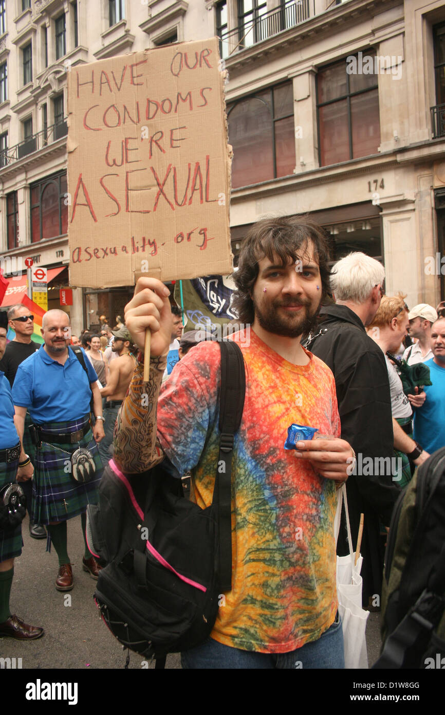 A small group of asexuals joined Pride London parade - Stock Image