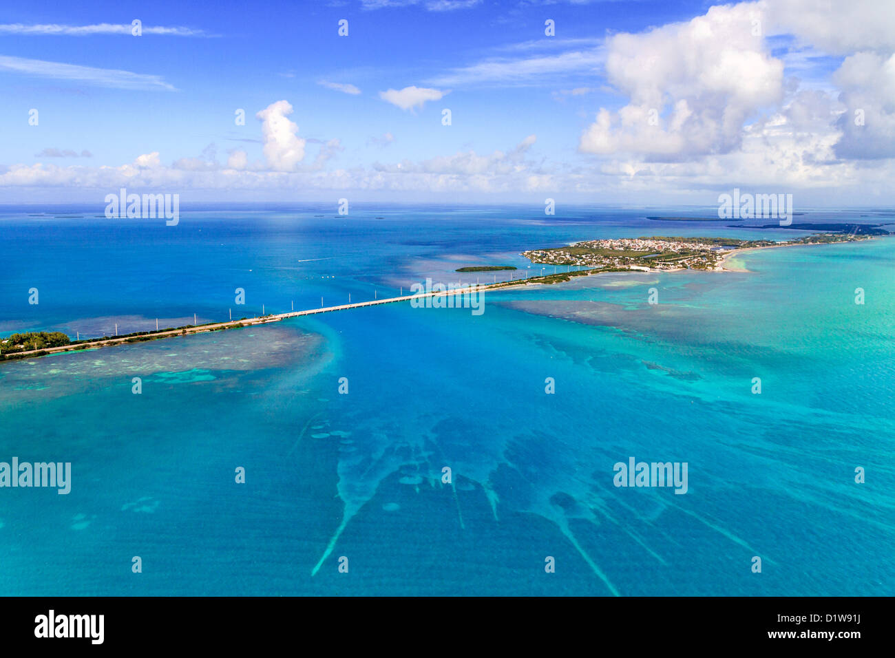 Florida Keys Aerial View from airplane - Stock Image