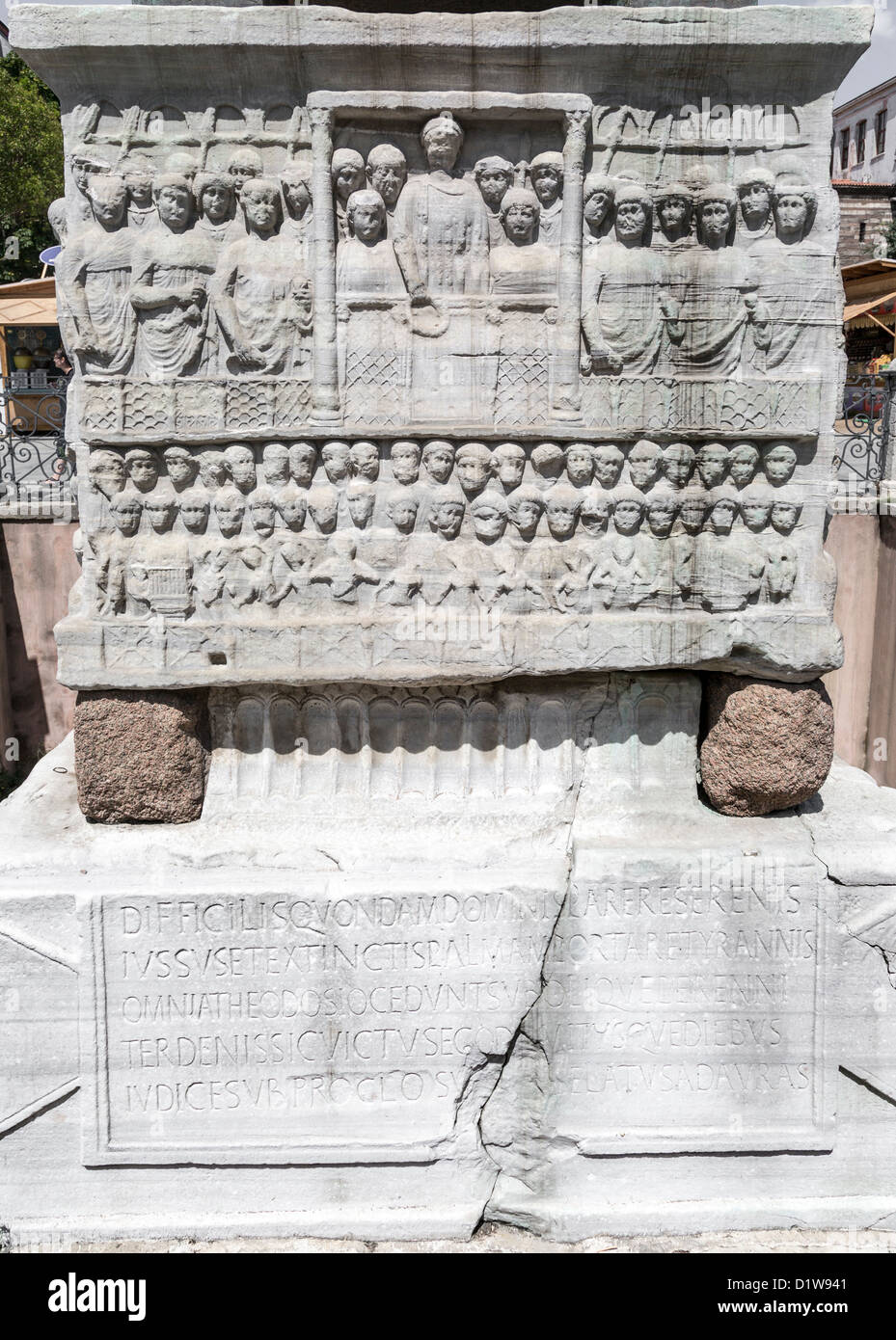 Detail of the pedestal of the Egyptian obelisk, Theodosius I offers laurels of victory, Sultan Ahmet meydan, Istanbul, - Stock Image