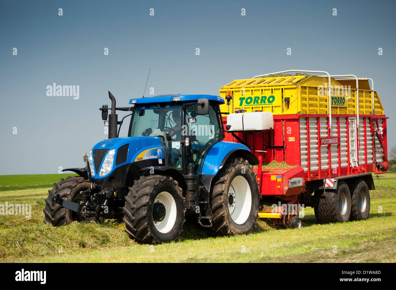 Picking up grass in meadow using a Pottinger forage wagon and New Holland tractor. Northumberland, UK - Stock Image