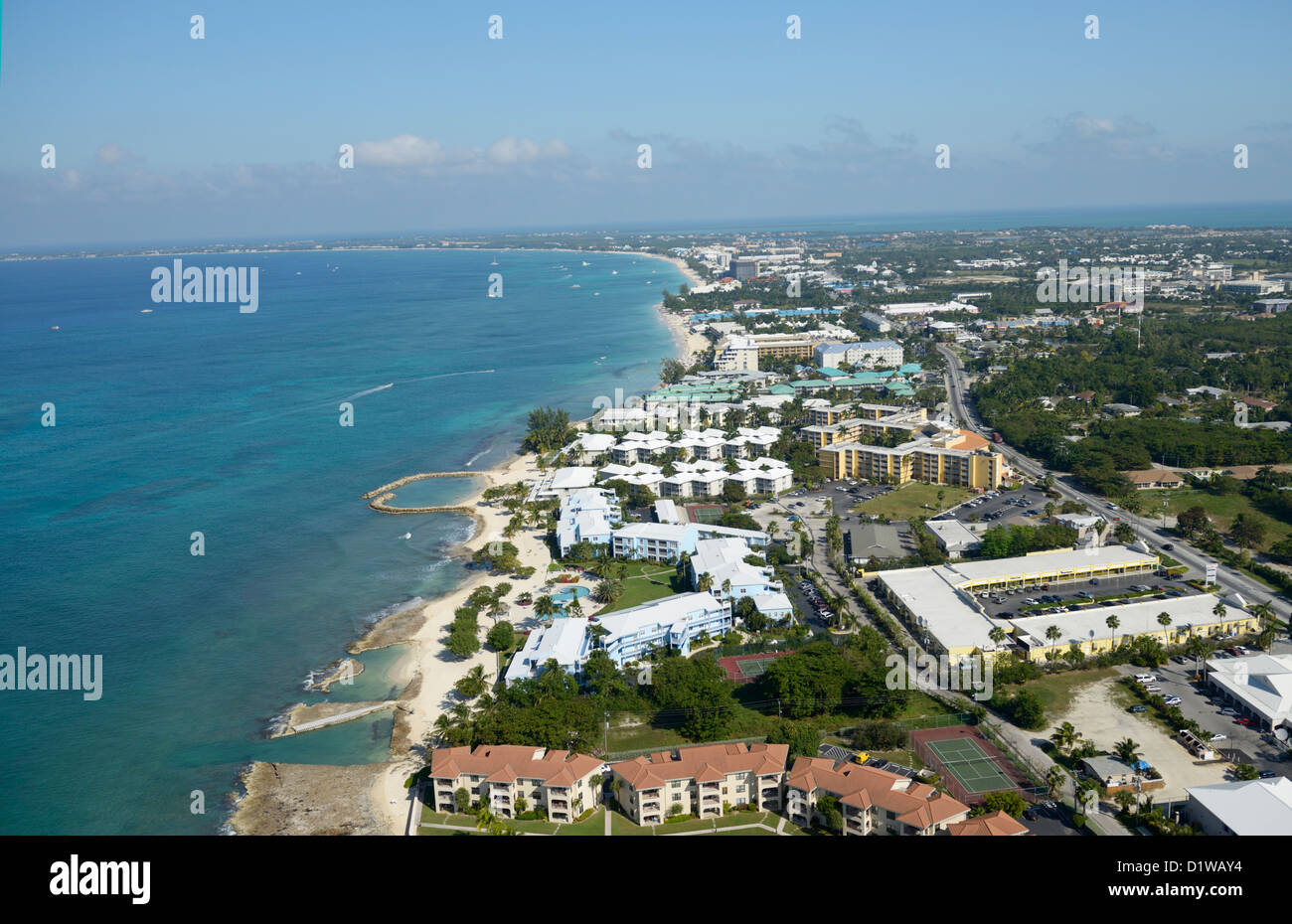 Seven Mile Beach area of Grand Cayman, looking north, from air - Stock Image