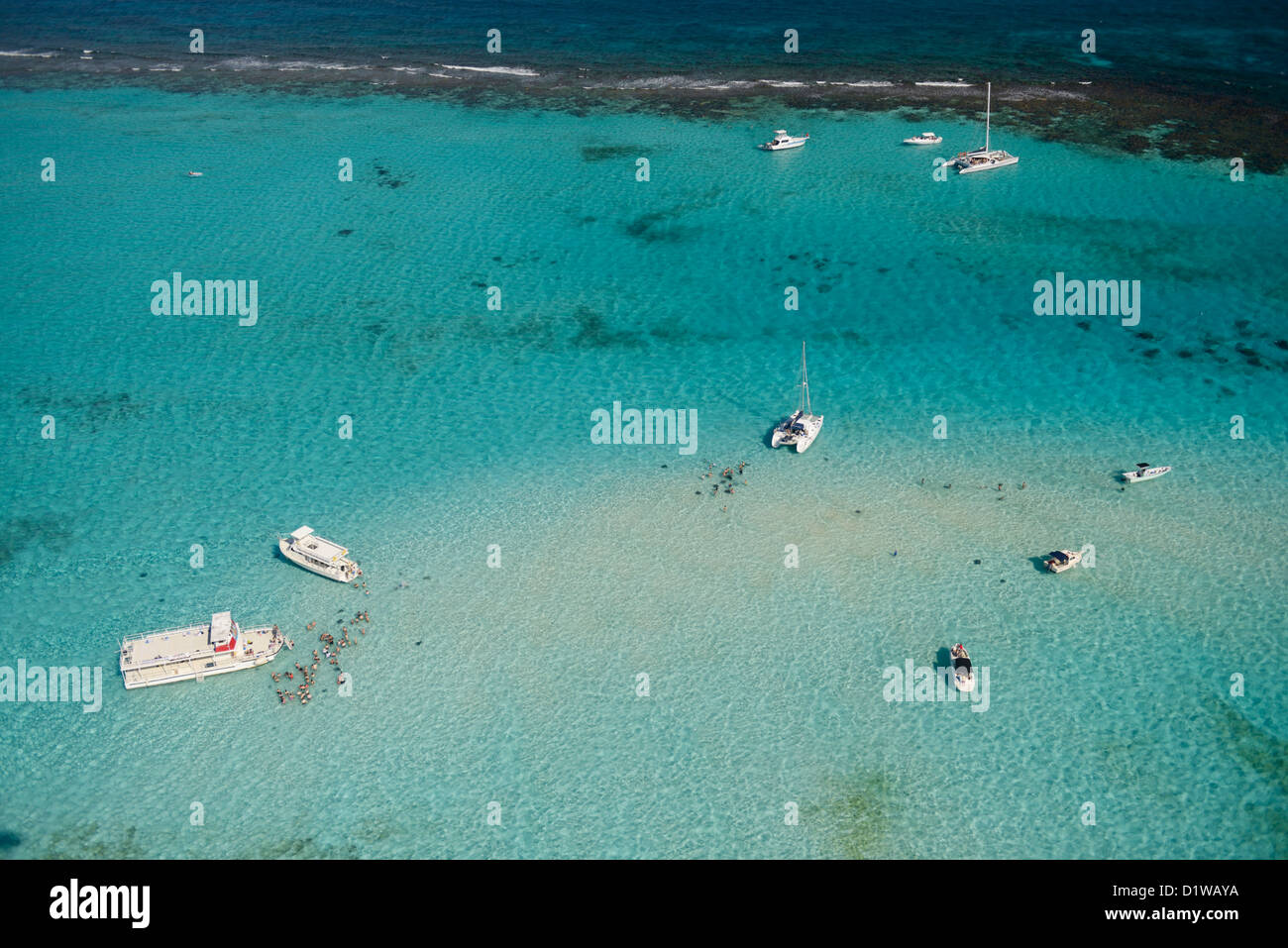 Stingray City, Grand Cayman, British West Indies, from the air - Stock Image